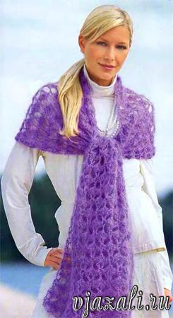 вязаный женский берет со схемой вязания. Вязаная шапка - берет с