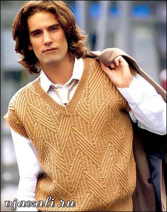 Жилет для мужчин вязание