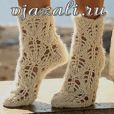 узоры для вязания спицами носки.