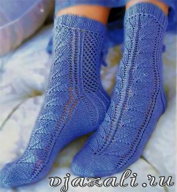 вязаные ажурные носки,