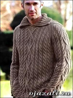 пуловер мужской с косами