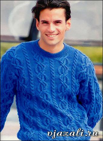 Мужской пуловер с косами и жгутами