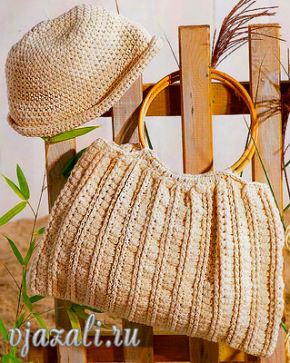 Вязаная сумка спицами и пляжная панама крючком.