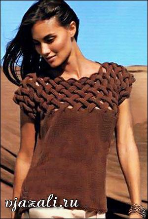 Женский топ с переплетением вязаный спицами вязание
