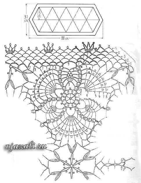 схема вязания овальной салфетки из мотивов.