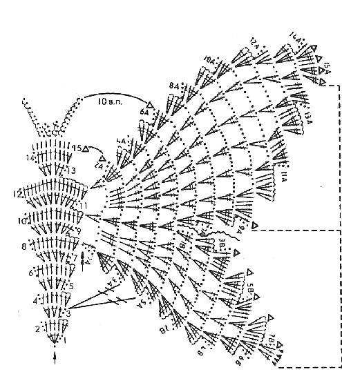"""схема вязания топ """"бабочки"""""""