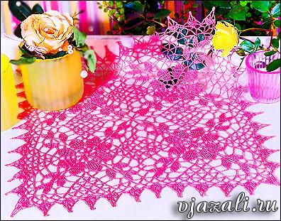розовая ажурная салфетка