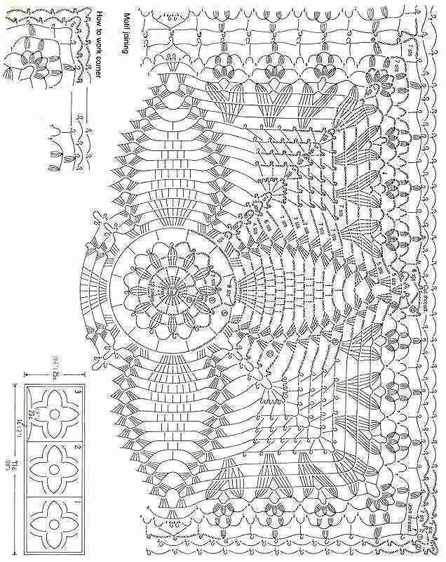 Вязаные крючком скатерти Схемы вязания Прямоугольные