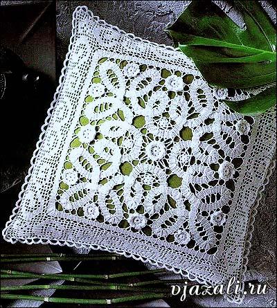 Вязанная кружевная подушка | вязание