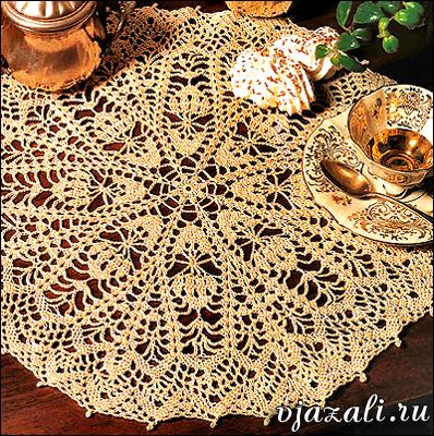 схема вязания круглой скатерти крючком.
