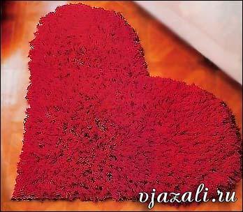 коврик пушистое сердце